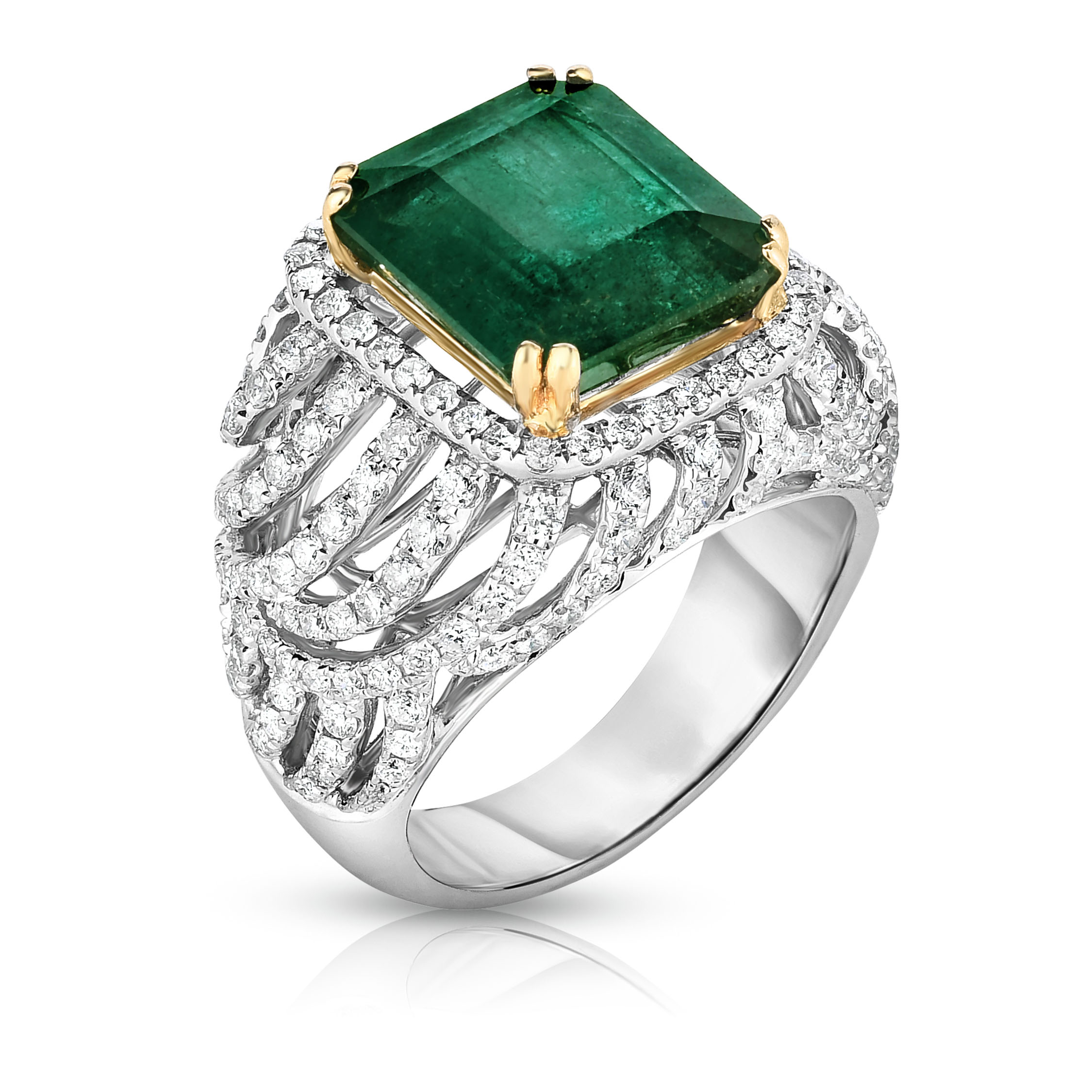 Square emerald and diamond engagement ring