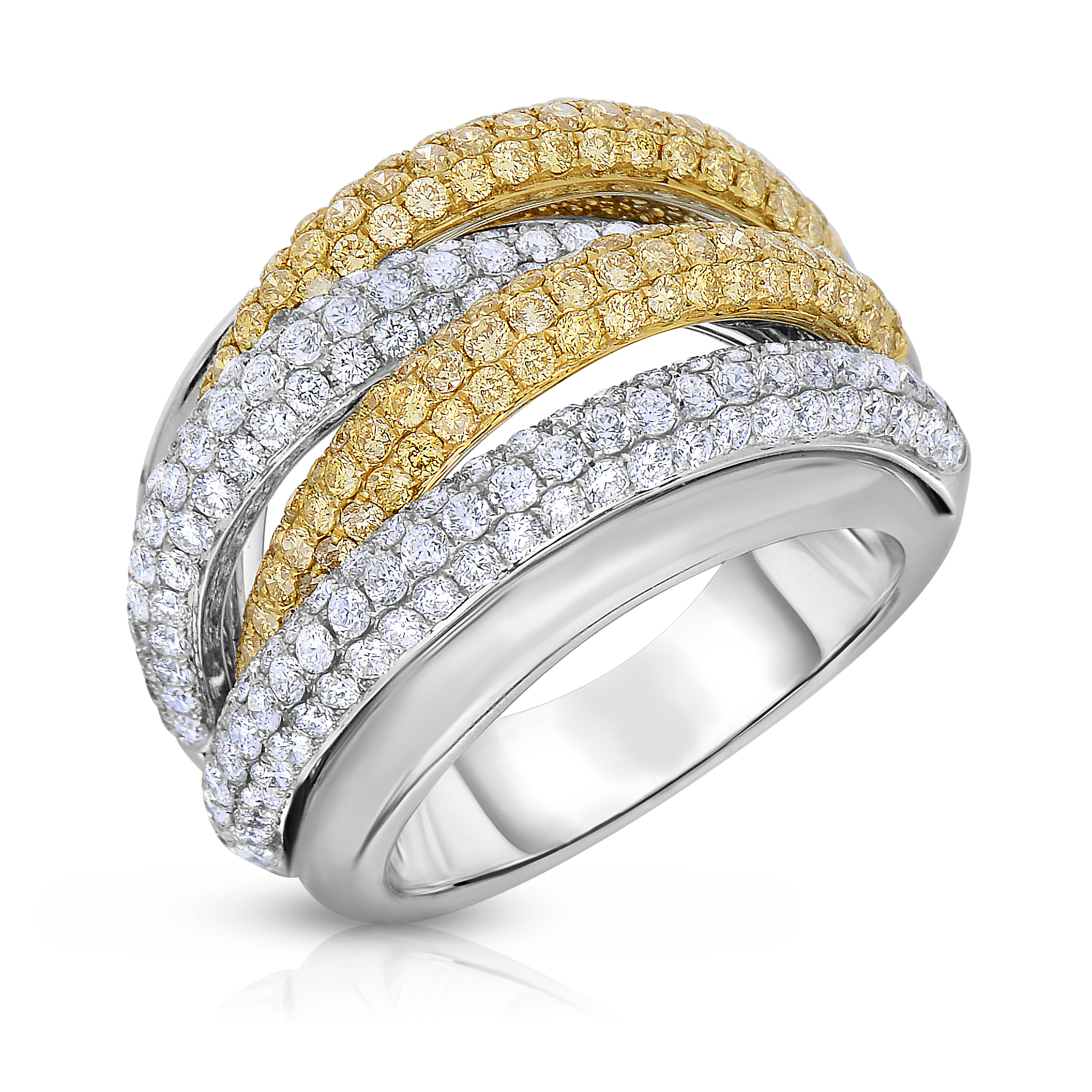 Yellow and white diamond cocktail ring