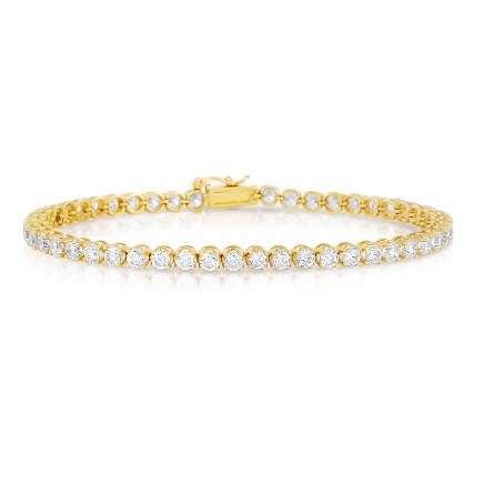 Yellow gold Tennis bracelet with round diamonds