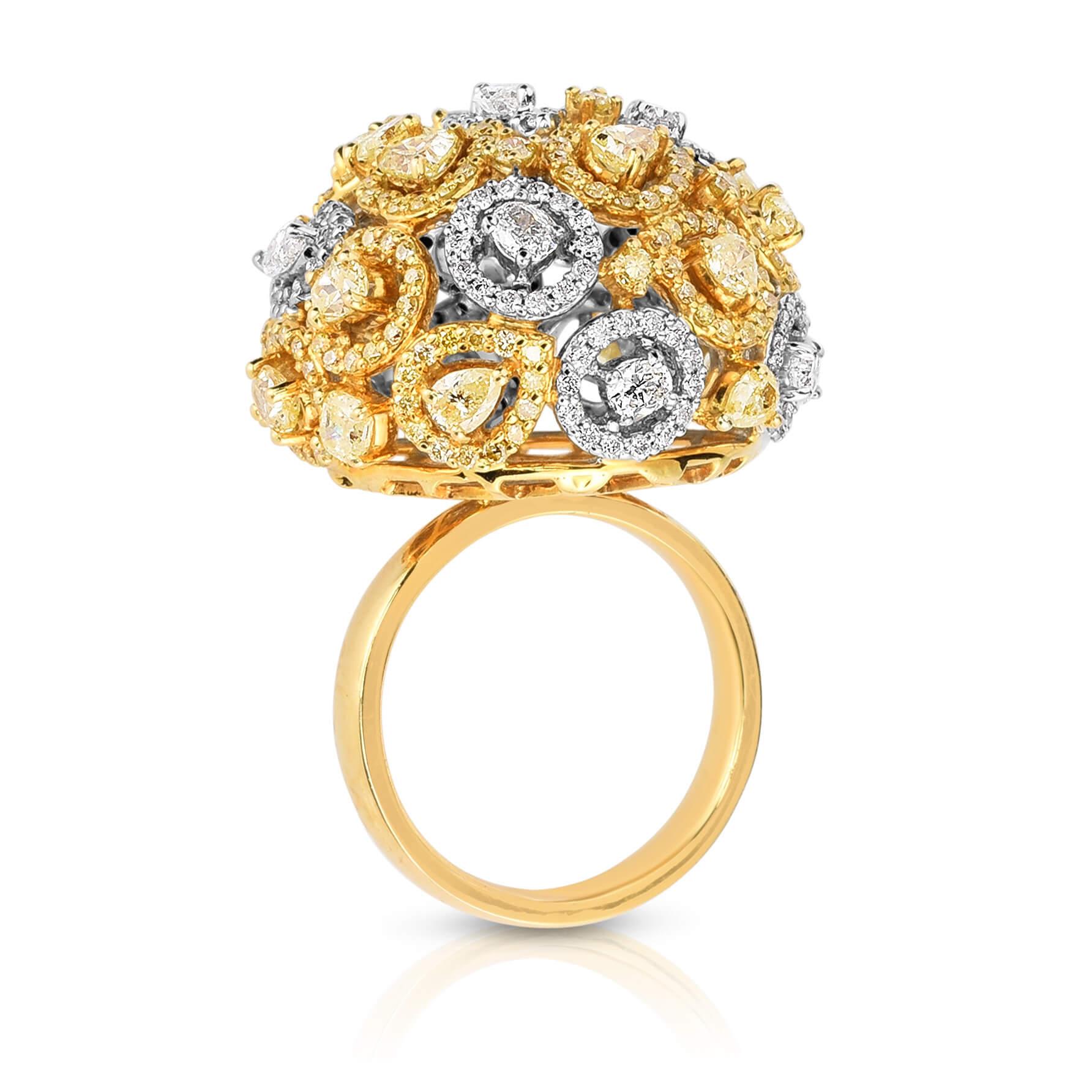 Yellow-and-white-diamond-flower-ring